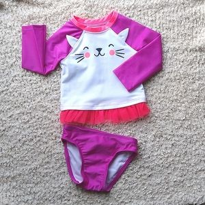 NWT 2 Piece Purple/Pink Swimsuit Toddler